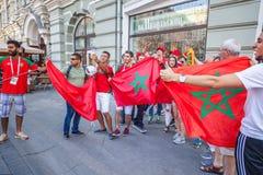 莫斯科俄国 2018年6月, 17日 从摩洛哥的足球迷与 免版税库存照片