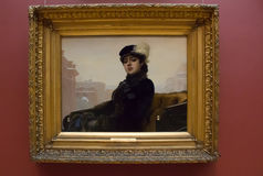 莫斯科俄国 特列季尤欣画廊, Kramskoy 未知的夫人 免版税库存照片