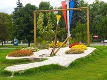莫斯科俄国 环境美化与调色板,框架,在全俄罗斯展览会ENEA的一把刷子 库存图片