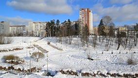 莫斯科俄国 Zelenograd管理区域全视图在冬天 股票视频