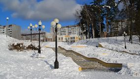 莫斯科俄国 Zelenograd管理区域全视图在冬天 股票录像