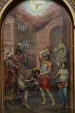 莫斯科俄罗斯可以25,在老俄国教会的墙壁上的2019年壁画描述圣若翰洗者斩首  免版税库存照片