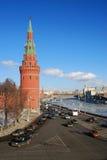 莫斯科克里姆林宫全景在一个晴天。 免版税库存图片