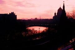 莫斯科克里姆林宫剪影 彩色照片 库存图片