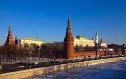 莫斯科克里姆林宫在冬天 免版税库存图片