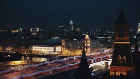 莫斯科克里姆林宫红砖塔风景timelapse夜视图  影视素材