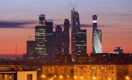 莫斯科全景在晚上 免版税库存照片
