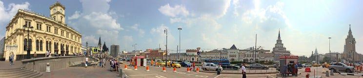 莫斯科全景的Komsomolskaya广场 免版税库存照片