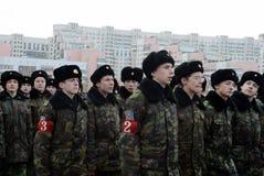 莫斯科军校学生的军校学生教育没有 1721为11月7日的游行做准备在红场 免版税图库摄影