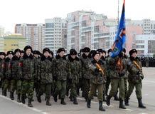 莫斯科军校学生的军校学生教育没有 1721为11月7日的游行做准备在红场 库存图片