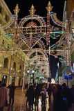 莫斯科冬天街道和圣诞节装饰,俄罗斯 免版税图库摄影