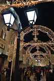莫斯科冬天街道和圣诞节装饰,俄罗斯 库存照片