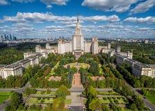 莫斯科国立大学鸟瞰图  免版税库存图片