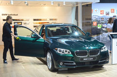 莫斯科国际汽车沙龙BMW汽车第五个系列 库存照片