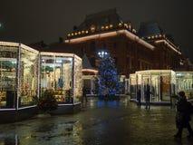 莫斯科圣诞节市场在晚上 免版税图库摄影