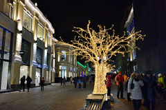 莫斯科圣诞节装饰,俄罗斯 免版税库存照片