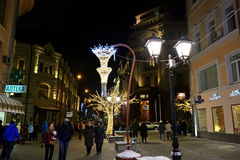莫斯科圣诞节装饰,俄罗斯 库存照片