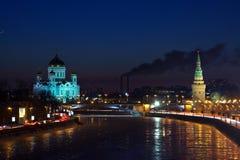 莫斯科在冬天晚上。 俄国 库存照片