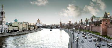莫斯科在红场和克里姆林宫附近的市中心全景  免版税图库摄影