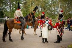 莫斯科地区- 9月06日:Borodino历史再制定争斗在它的203周年的 免版税库存图片