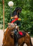 莫斯科地区- 9月06日:Borodino历史再制定争斗在它的203周年的 库存图片