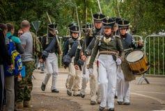 莫斯科地区- 9月06日:Borodino历史再制定争斗在它的203周年的 图库摄影