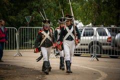 莫斯科地区- 9月06日:Borodino历史再制定争斗在它的203周年的 库存照片
