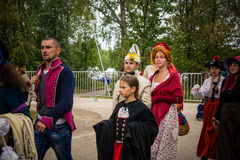 莫斯科地区- 9月06日:Borodino历史再制定争斗在它的203周年的 免版税图库摄影