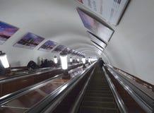 莫斯科地铁自动扶梯 图库摄影