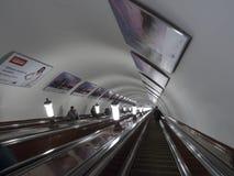 莫斯科地铁自动扶梯 库存照片