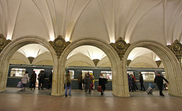 莫斯科地铁车站Paveletskaya 免版税库存图片