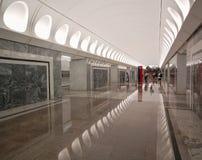 莫斯科地铁,驻地Dostoyevskaya,内部 免版税库存照片
