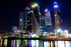 莫斯科城市在晚上,俄罗斯01 06 2014年 免版税库存照片