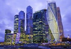 莫斯科城市在边界夜 库存图片