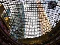 莫斯科城市的塔通过玻璃圆顶 免版税图库摄影
