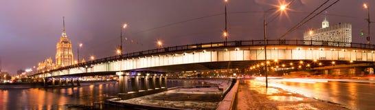 莫斯科夜视图从照明的点燃 免版税库存照片
