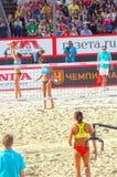 2015年莫斯科封垫响声比赛沙滩排球俄罗斯莫斯科31可以2015年 免版税库存照片