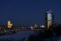 莫斯科市中心冬天的晚上 免版税库存照片