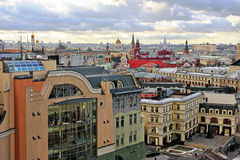 莫斯科市中心屋顶顶视图,俄罗斯 免版税库存图片