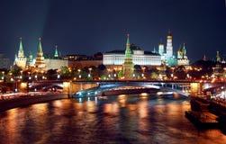 莫斯科市中心的晚上全景 免版税图库摄影