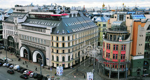 莫斯科市中心的顶视图 库存照片