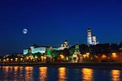 莫斯科市克里姆林宫在晚上,俄罗斯 库存照片
