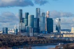 莫斯科市冬天晚上,俄罗斯 国际商业中心 图库摄影