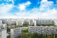 莫斯科市地平线顶视图在晴天 库存图片