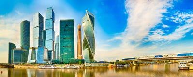 莫斯科市地平线 全景 免版税库存照片