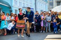 莫斯科市天 在Tverskaya街上的表现 图库摄影