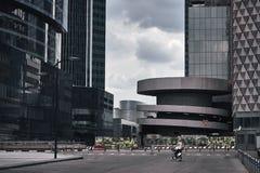 莫斯科市摩天大楼在多云天气的夏天 免版税图库摄影