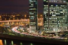 莫斯科市摩天大楼都市风景夜 库存图片