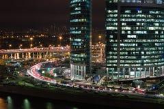莫斯科市摩天大楼都市风景夜 图库摄影