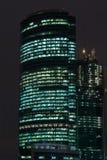 莫斯科市摩天大楼都市风景夜 免版税库存照片
